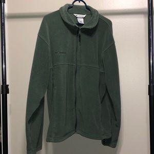 Columbia Olive Green Mens Zip Up Fleece Jacket